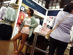 Candidly voyeur niggardly nerdy teen in the air glasses unprofessional shopping