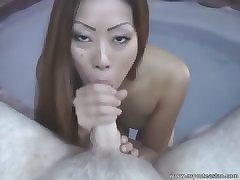 Hot Asian close to bikini shacking up outdoors!