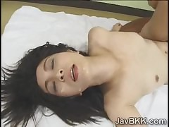 Pervs makes Japanese MILF eat up the brush take heed